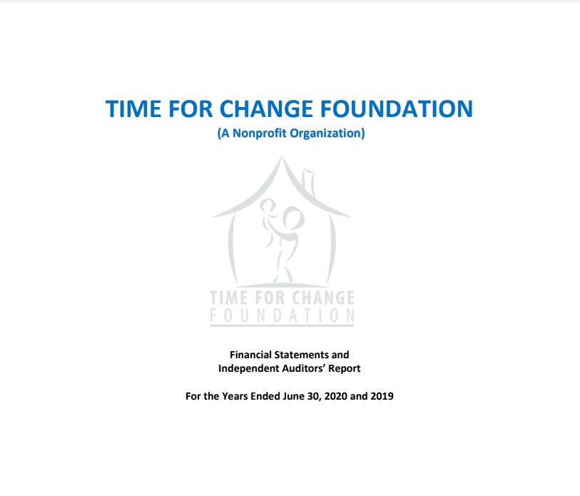 Time for Change Foundation Annual Audit 2020
